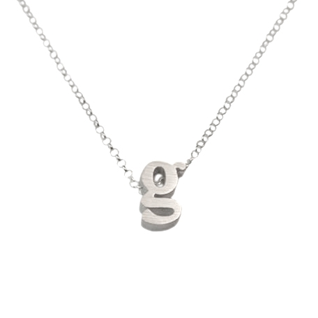 initial necklace letter g necklace in sterling silver