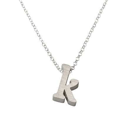 Initial Necklace letter K necklace in sterling silver
