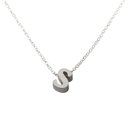 initial necklace letter s necklace in sterling silver