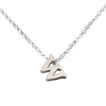 Initial Necklace letter W necklace in sterling silver