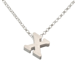 Initial Necklace letter X necklace in sterling silver