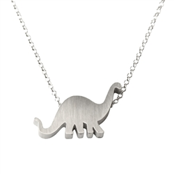 Brontosaurus Dinosaur Necklace - Recycled Sterling Silver