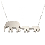 Mother and Two Baby Elephants Necklace