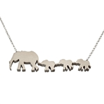 Mother and Three Baby Elephants Necklace