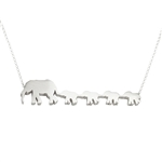 Mother and Four Baby Elephants Necklace