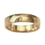 Wide Gold Rustic Wedding Band