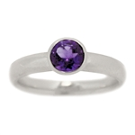 Classic Bezel Set Amethyst Engagement Ring