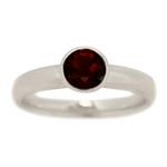 Classic Bezel Set Garnet Engagement Ring