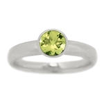 Classic Bezel Set Peridot Engagement Ring