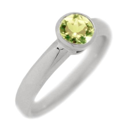 Classic Bezel Set Peridot Engagement Ring Alternative Engagement