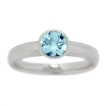 Classic Bezel Set Blue Topaz Engagement Ring