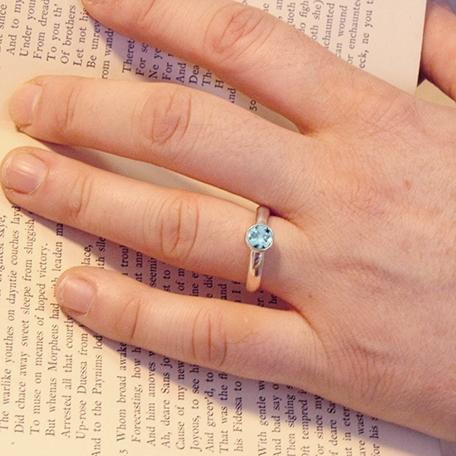 Classic Bezel Set Blue Topaz Engagement Ring Alternative
