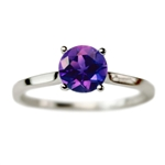 Classic Solitaire Engagement Ring with Amethyst