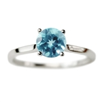 Classic Solitaire Engagement Ring with Blue Topaz