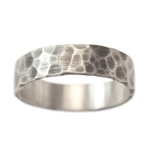 Wide Rustic Hammered Wedding Band