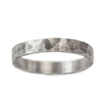 Narrow Rustic Hammered Wedding Band